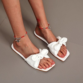 Bowknot Fashion One-shaped Square Toe Slippers  NSPE35023