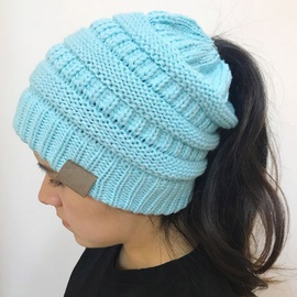 Fashion Pure Color Knit Ponytail Hat   NSTQ34723