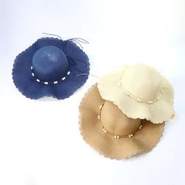Solid Color Cute Wave Brim Straw Hat  NSTQ34738