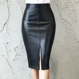 Black High-waist Slim-fit Split PU Leather Skirt NSGE35050