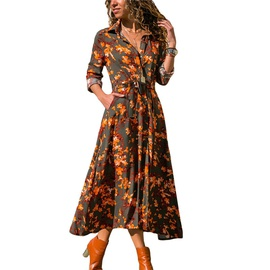 Chiffon Printed Long Sleeve High Waist Shirt Dress NSGE35057