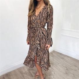 V-neck Tiger Pattern Long-sleeved Chiffon Dress  NSGE35058