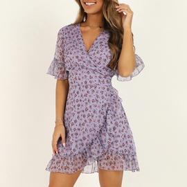 Chiffon Short Sleeve V-neck Dress  NSGE35059