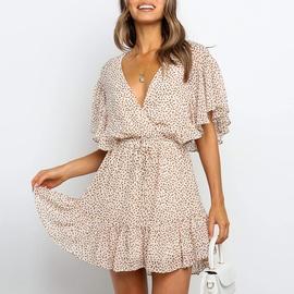Chiffon Printed V-neck Short-sleeved Dress  NSGE35060