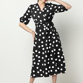 Polka Dot Printing Chiffon V-neck Long Sleeve Dress NSGE35065
