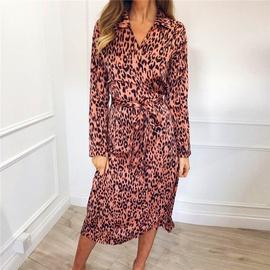 Leopard Print V-neck Long Sleeve Chiffon Dress NSGE35066