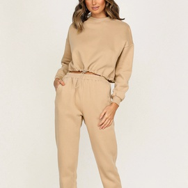 Casual Cotton Solid Color Round Neck Long Sleeve Sweatshirt Trousers NSGE35072
