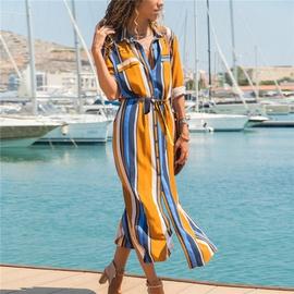 Striped Button High Waist Lace Chiffon Shirt Dress NSGE35075