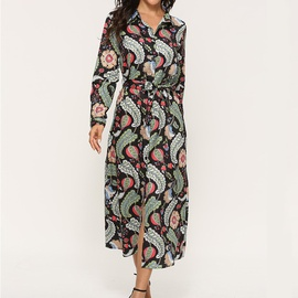 Casual Leaf Print Long Sleeve Chiffon Dress NSGE35080