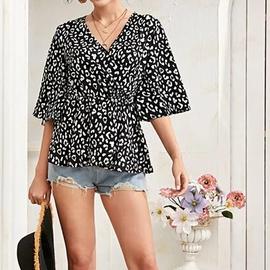 Leopard Print V Neck Short Sleeve Chiffon Shirt NSGE35106