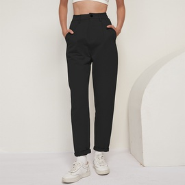 Casual Pocket Solid Color Straight Trousers  NSGE35122