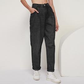 Casual Simple High Waist Slim Pocket Jeans NSGE35123