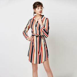 High-waist Lace-up Striped Print Dress NSGE35127