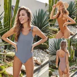 Tight-fitting Solid Color One-piece Triangle Swimsuit NSLM35135