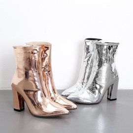Patent Leather Sexy Thick Heel High Heel Knight Boots NSHU35147
