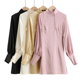 Retro Stand Collar Design Long-sleeved Dress  NSLD35154