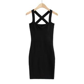 Cross Stretch Slim Knitted Sling Dress  NSLD35166