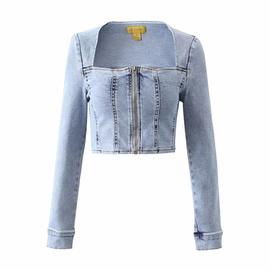 Slim Fit Low-neck Denim Jacket NSLD35170