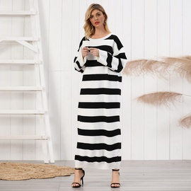 Striped Knitted Long-sleeved Dress  NSSE35206