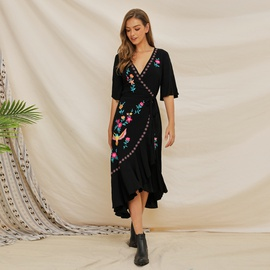 Short-sleeved Embroidered Lotus Leaf Stitching Bohemian Dress NSSE35210