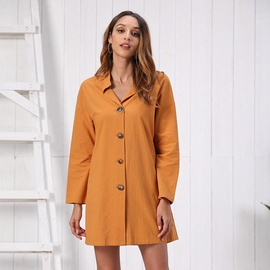 Solid Color Slouchy Shirt Dress NSSE35233