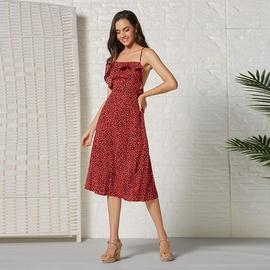 Red Leopard Print Suspender Dress NSSE35241
