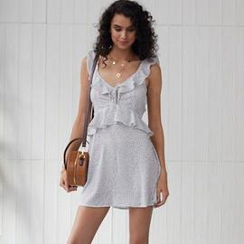 Polka Dot Printing V-neck Irregular Ruffle Stitching Dress NSSE35242