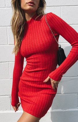 Knitted Long-sleeved Solid Color Dress NSSE35246