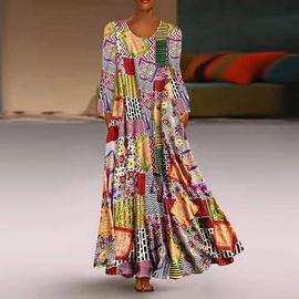 Casual Long  Print Printed Bohemian Dress NSHZ35265