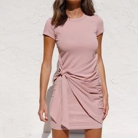 Solid Color Short Sleeve Knot Dress NSHZ35271