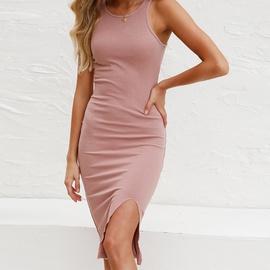 Solid Color Vest Knitted Split Dress NSHZ35270