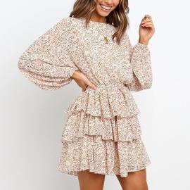 Round Neck Tiered-layer Ruffled Print Dress NSHZ35272