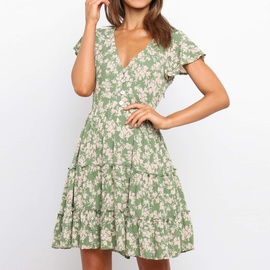 V-neck Pleated High Waist Floral Short Sleeve Dress NSHZ35274