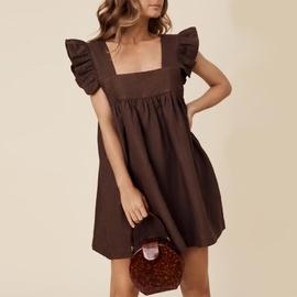 Square Neck Ruffled Sleeveless Short Dress NSHZ35279