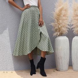 Polka Dot Green Chiffon Skirt  NSHZ35280