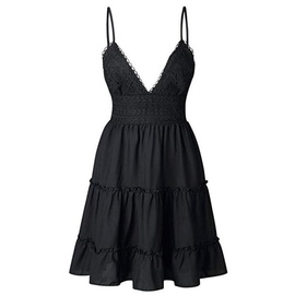 Solid Color Low-cut Lace Sling Dress  NSHZ35281