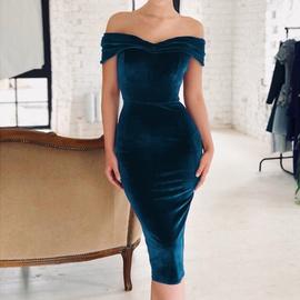Off-shoulder Velvet Dress NSHZ35296
