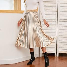 Gold Velvet Pleated Midi Skirt  NSXS35302