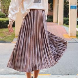 Gold Velvet Pleated Skirt NSXS35304