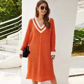 V-neck Contrast Color Mid-length Dress Sweater NSYD35373