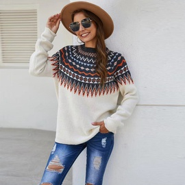 Round Neck Long-sleeved Floral Sweater  NSYD35374