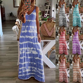 Tie-dye Print Loose Sling Vest Dress NSYD35375