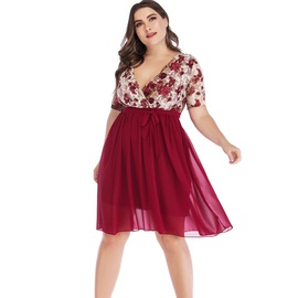 Plus Size Sexy V-neck Lace Print Stitching Chiffon Dress  NSYD35376