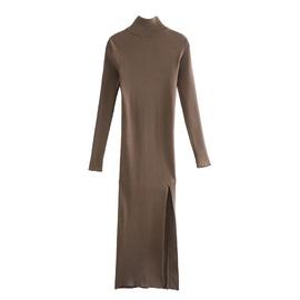 Side Slit Ribbed Knit Long Dress  NSHS35391