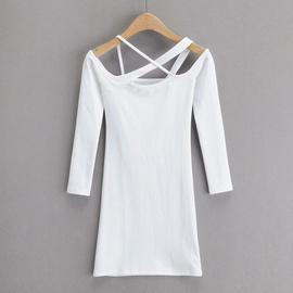 Design Neck Stretch Long-sleeved Dress NSHS35393