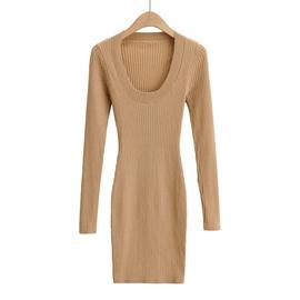 U-neck Solid Color Knitted Dress NSHS35397