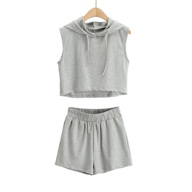 Solid Color Hooded Vest Elastic Waist Sports Shorts Two-piece Suit NSHS35399