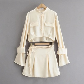 Single-breasted Satin Short Long-sleeved Shirt Solid Color Pleated Skirt Two-piece Suit NSHS35402