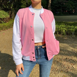 College Style Hit Color Baseball Sweater Jacket NSLQ38260