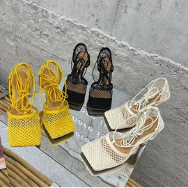 Square Mesh Strap High Heels Sandals  NSCA38264